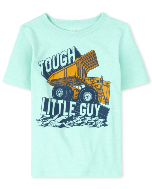 Baby And Toddler Boys Short Sleeve 'Tough Little Guy' Construction Truck Graphic Tee