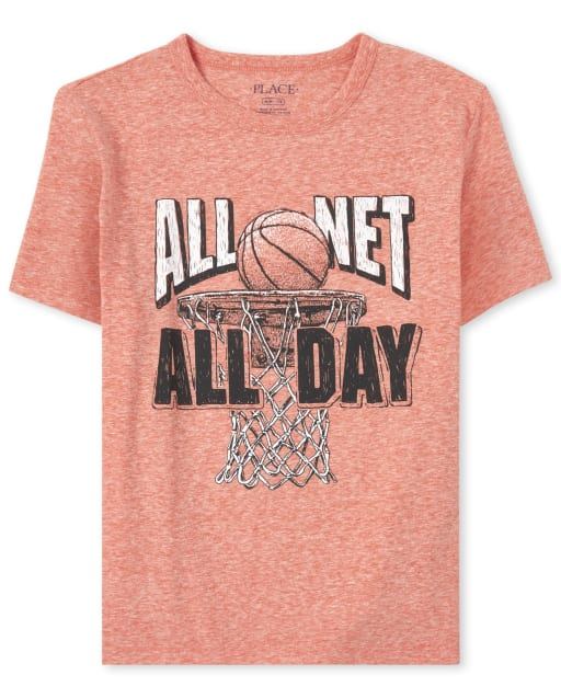 Boys Short Sleeve 'All Net All Day' Basketball Graphic Tee