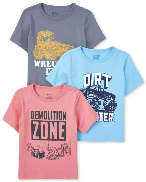 Baby And Toddler Boys Short Sleeve Trucks Graphic Tee 3-Pack