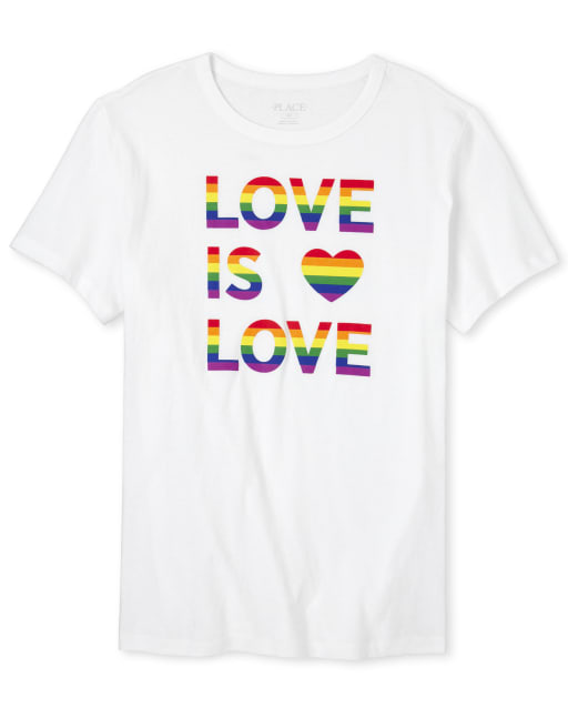 Unisex Adult Matching Family Short Sleeve Rainbow 'Love Is Love' Matching Graphic Tee