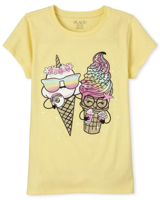 Girls Short Sleeve Glitter Ice Cream Graphic Tee