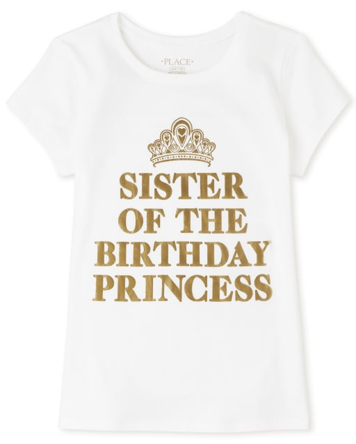 Girls Short Sleeve Foil 'Sister Of The Birthday Princess' Graphic Tee