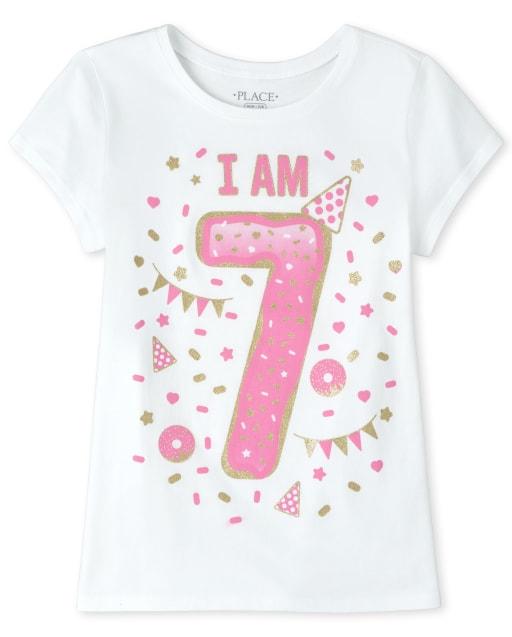Girls Birthday Short Sleeve Glitter 'I Am 7' Graphic Tee