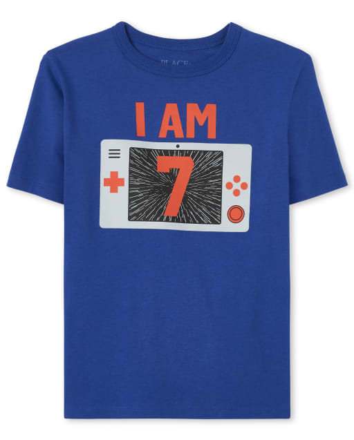 Boys Birthday Short Sleeve 'I Am 7' Video Game Graphic Tee