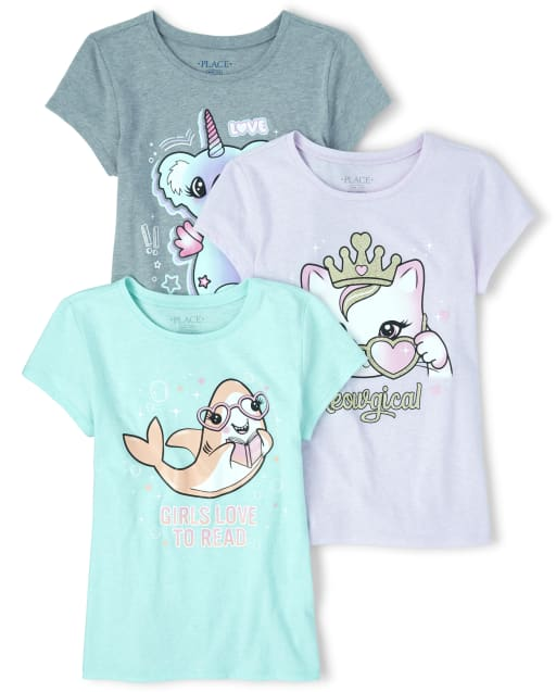 Girls Short Sleeve Glitter Animals Graphic Tee 3-Pack