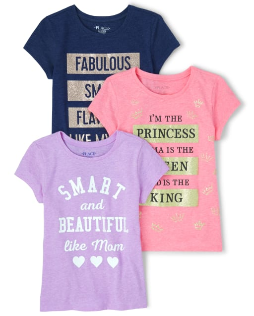 Girls Short Sleeve Glitter Family Graphic Tee 3-Pack