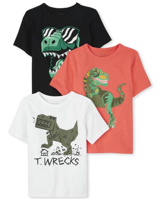 Pack de 3 camisetas con estampado Dino de bebés y niños pequeños