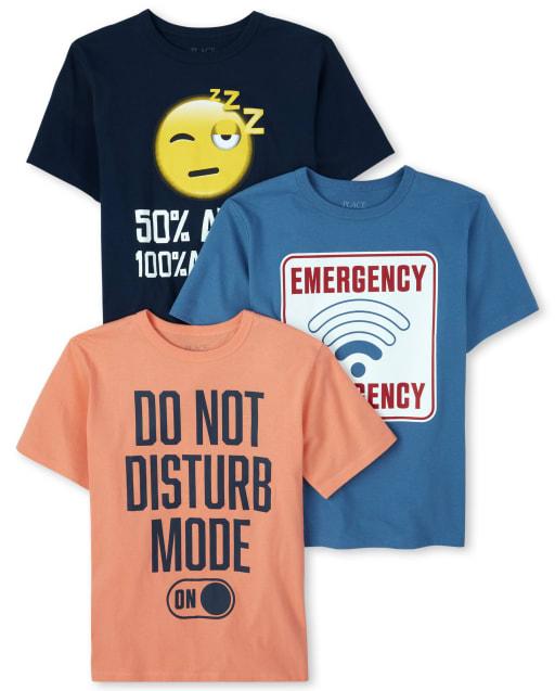 Boys Short Sleeve 'Do Not Disturb' Graphic Tee 3-Pack