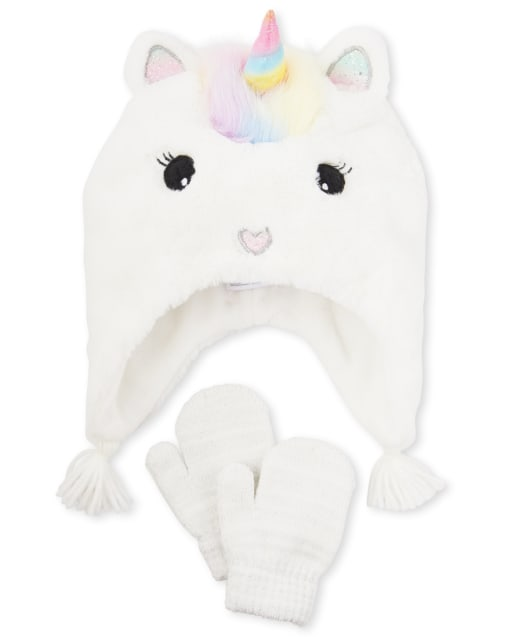 Toddler Girls Faux Fur Unicorn Hat And Mittens Set