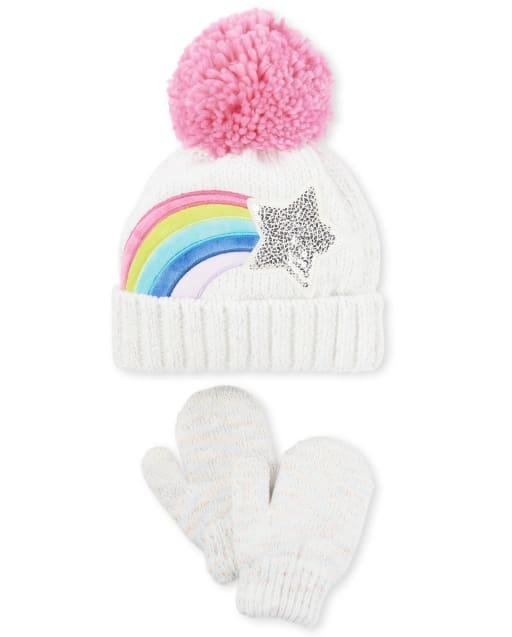 Toddler Girls Rainbow Star Pom Pom Beanie And Mittens Set
