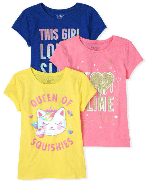 Girls Short Sleeve Glitter 'Queen Of Squishies' And Slime Graphic Tee 3-Pack