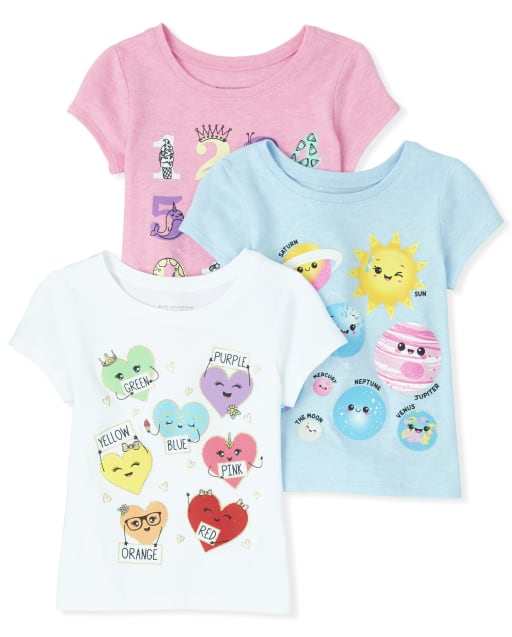 Baby And Toddler Girls Short Sleeve Glitter Numbers Planets And Hearts Graphic Tee 3-Pack