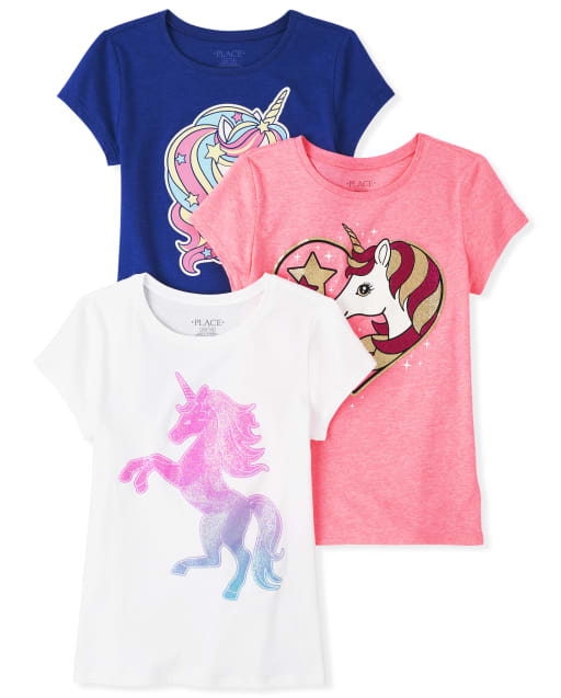 Girls Short Sleeve Glitter Unicorn Graphic Tee 3-Pack