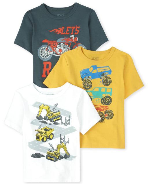 Baby And Toddler Boys Short Sleeve Truck Graphic Tee 3-Pack