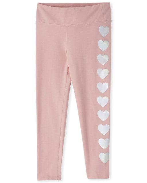 Girls Heart Side Stripe Knit Active Leggings