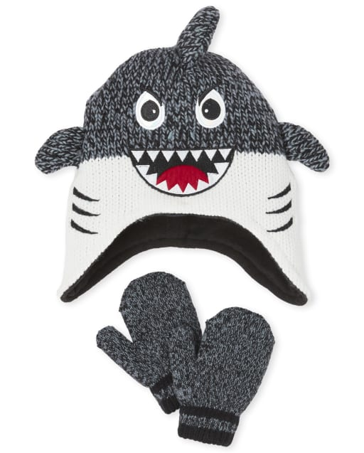 Toddler Boys Shark Hat And Mittens Set