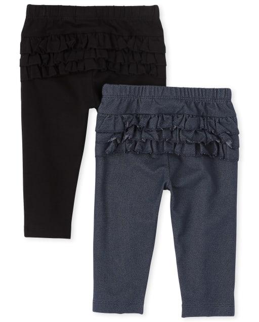 Baby Girls Ruffle Knit Pants 2-Pack