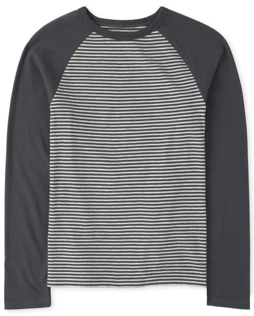 Boys Long Raglan Sleeve Striped Top