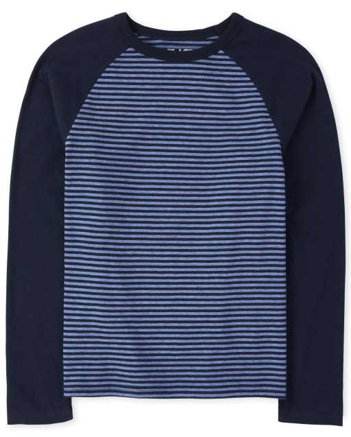 Boys Long Raglan Sleeve Striped Top