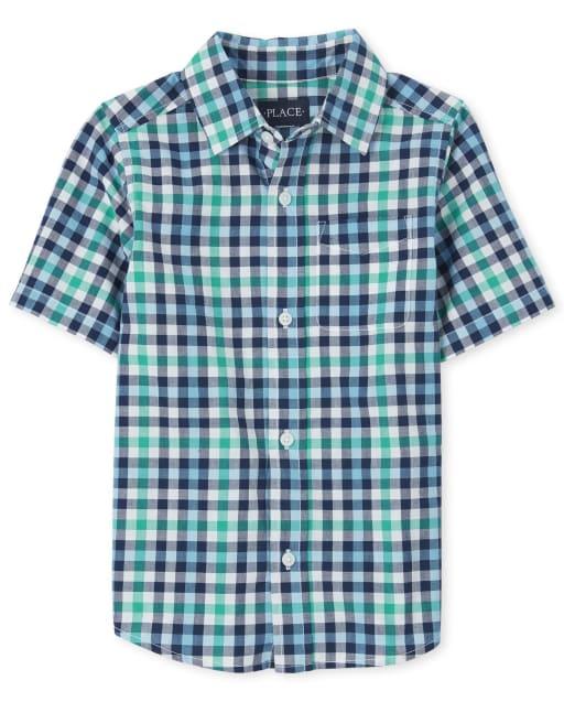 Camisa de manga corta con botones de popelina a cuadros para niños