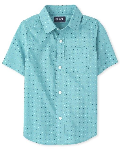 Camisa de manga corta con botones de popelina y estampado de lunares para niños