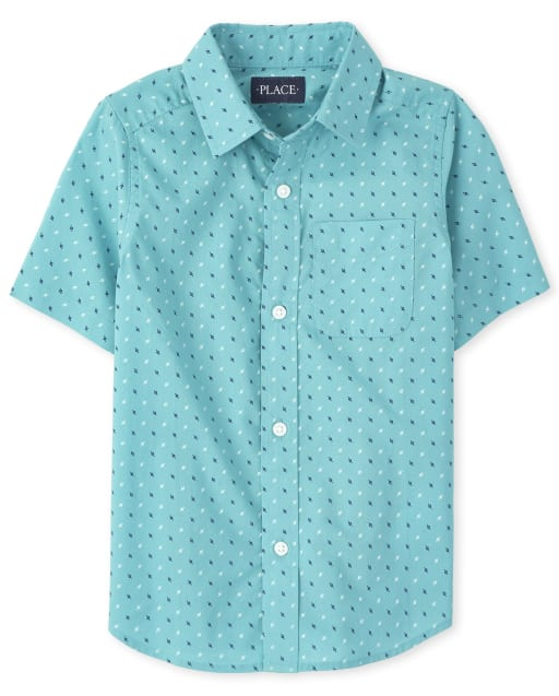 Boys Short Sleeve Dot Print Poplin Button Down Shirt