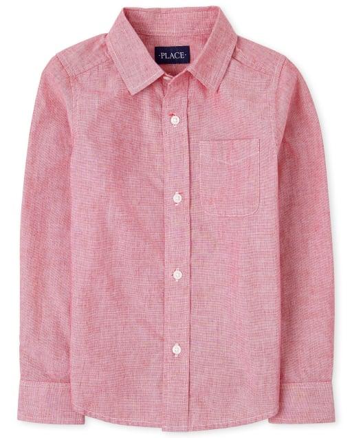 Camisa de manga larga con botones de popelina para niños