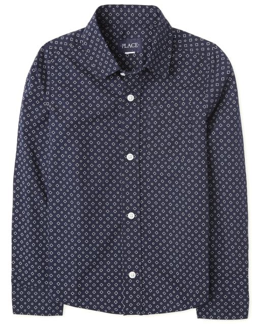 Boys Long Sleeve Dot Print Poplin Button Down Shirt