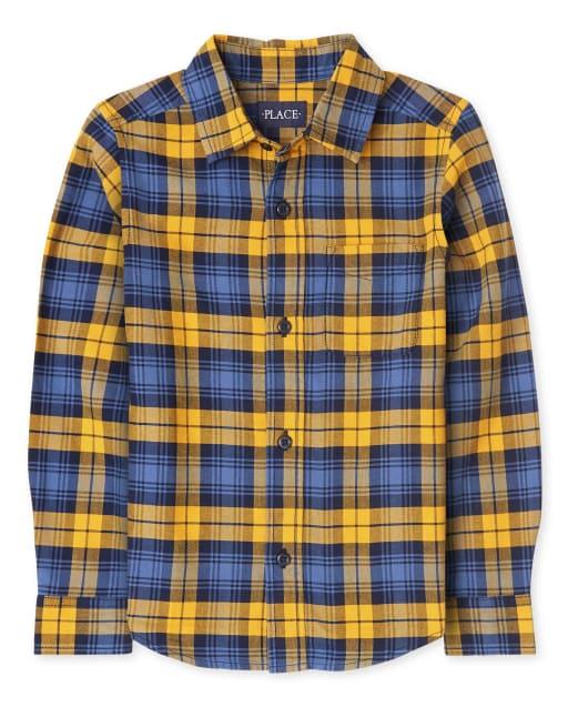 Boys Long Sleeve Plaid Oxford Button Down Shirt
