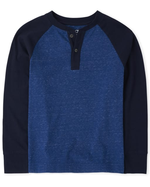 Boys Long Raglan Sleeve Henley Top