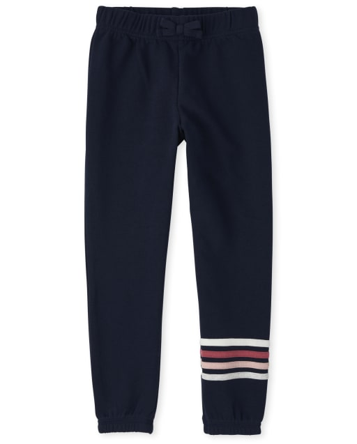 Girls Active Striped French Terry Track Pants