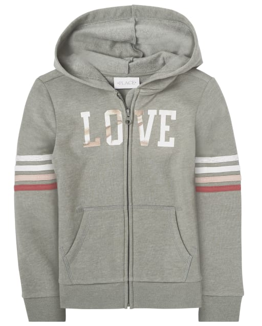 Girls Active Long Striped Sleeve Graphic French Terry Zip Up Hoodie