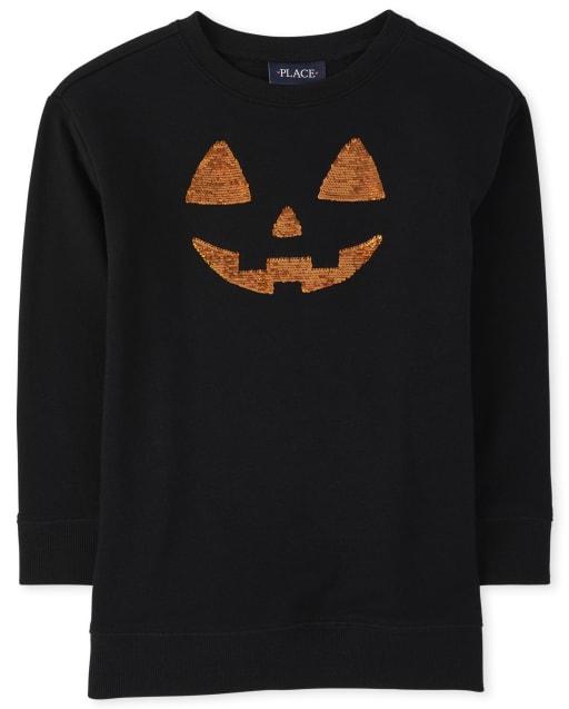 Girls Mommy And Me Halloween Long Sleeve Flip Sequin Pumpkin Matching Tunic Sweatshirt