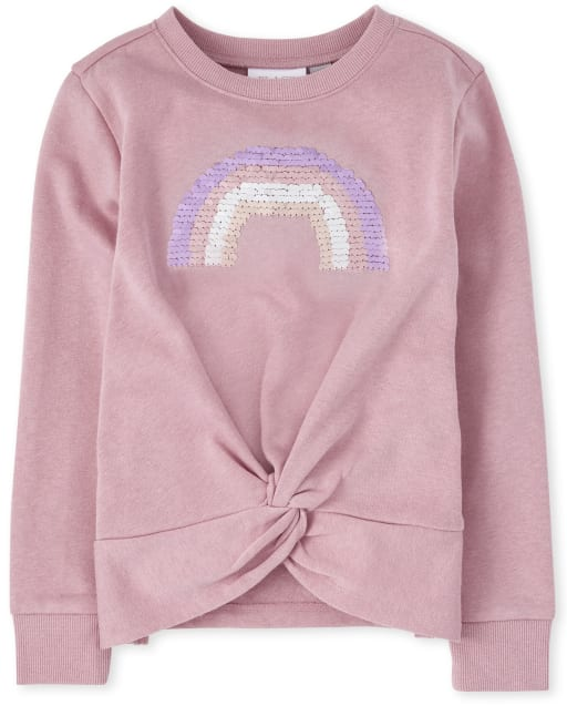 Girls Active Long Sleeve Foil Rainbow Twist Front Sweatshirt