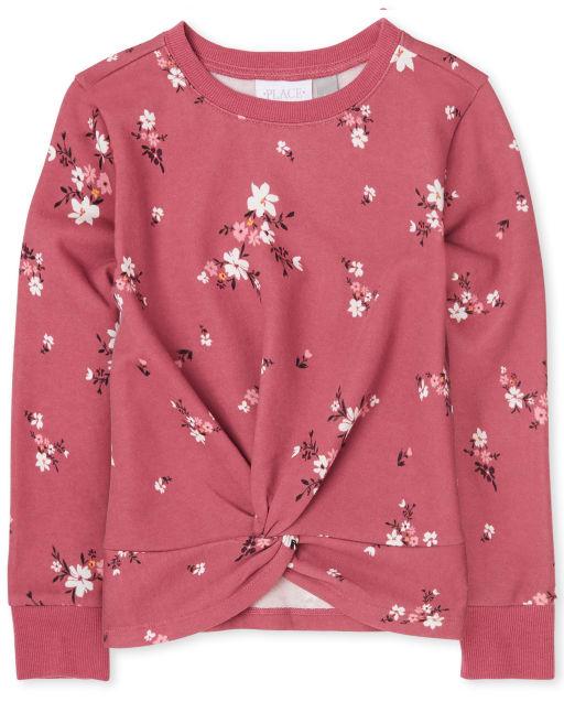 Girls Active Long Sleeve Floral Twist Front Sweatshirt