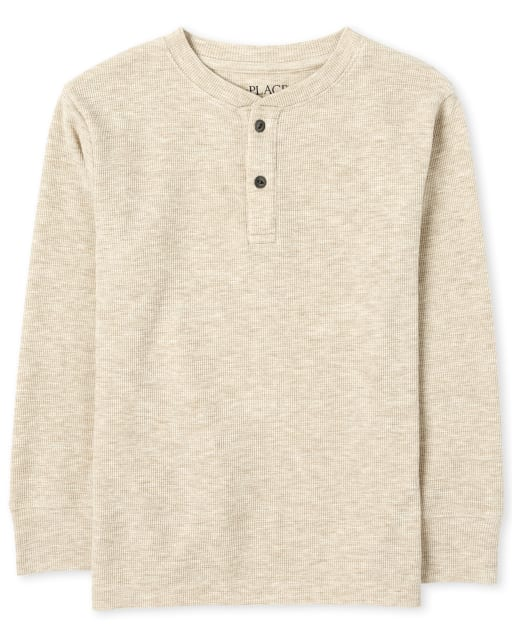 Boys Long Sleeve Thermal Henley Top