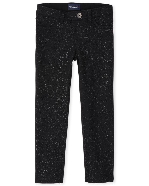 Girls Glitter French Terry Jeggings