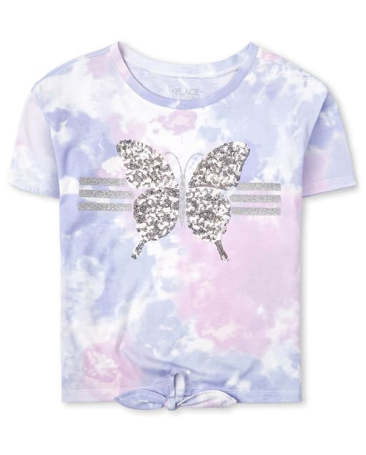 Girls Active Short Sleeve Glitter Tie Dye Tie Front Top