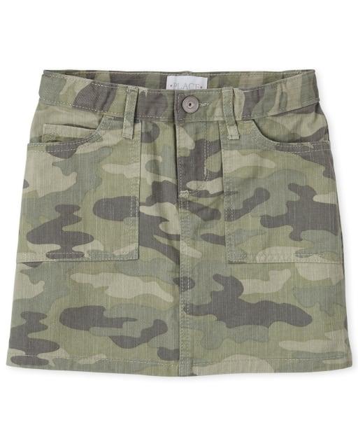 Girls Camo Twill Skirt