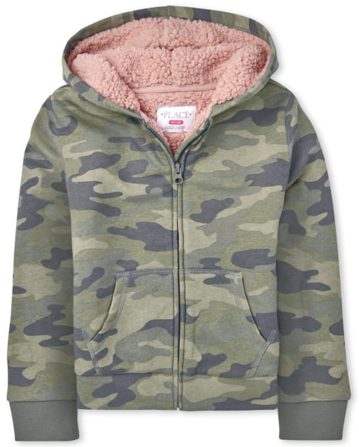 Girls Long Sleeve Camo Sherpa Lined French Terry Zip Up Hoodie