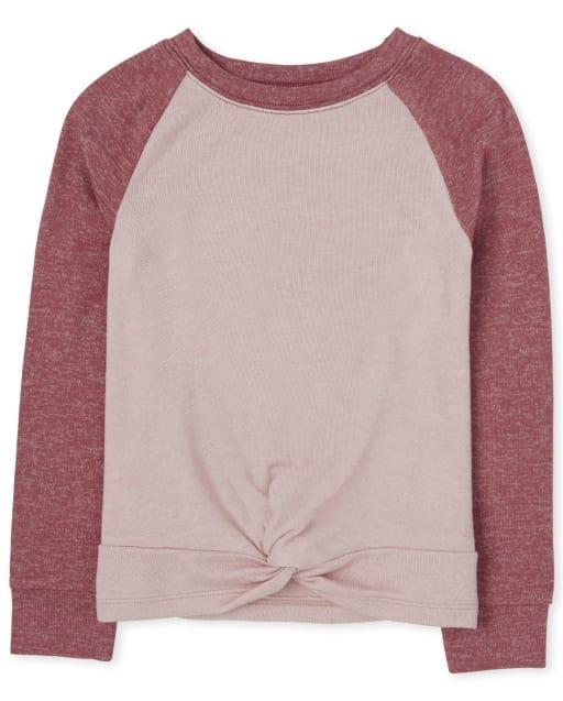 Suéter ligero de manga larga con frente torcido y activo para niñas