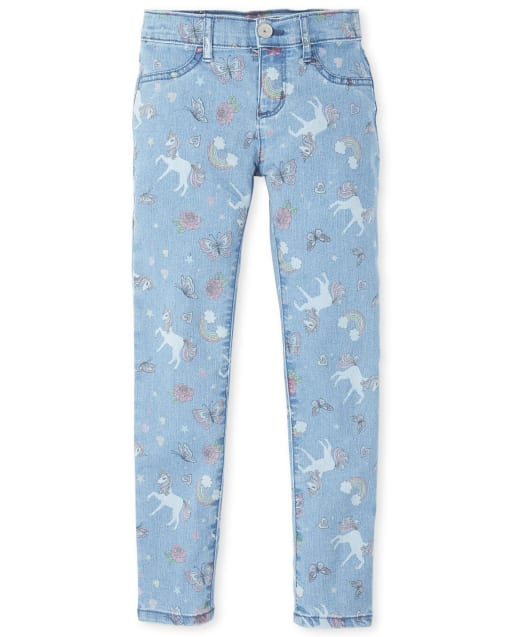 Girls Unicorn Rainbow Print Jeggings