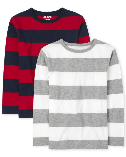 Boys Long Sleeve Striped Top 2-Pack