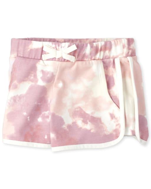 Girls Active Tie Dye Fleece Shorts