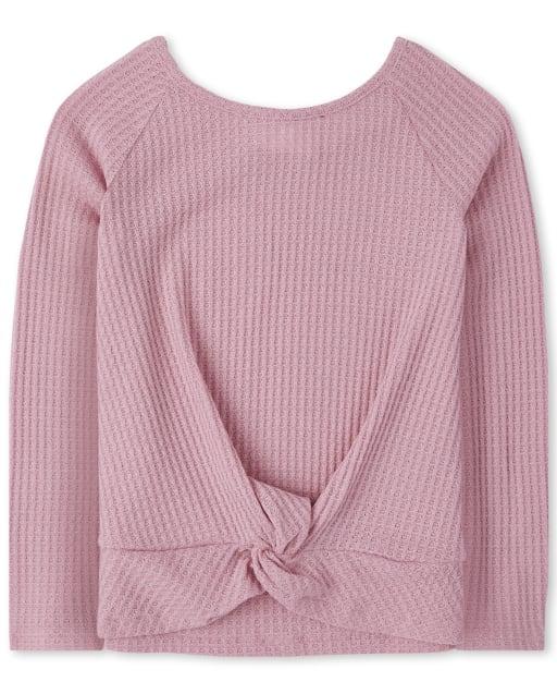 Girls Long Sleeve Twist Front Lightweight Sweater Top