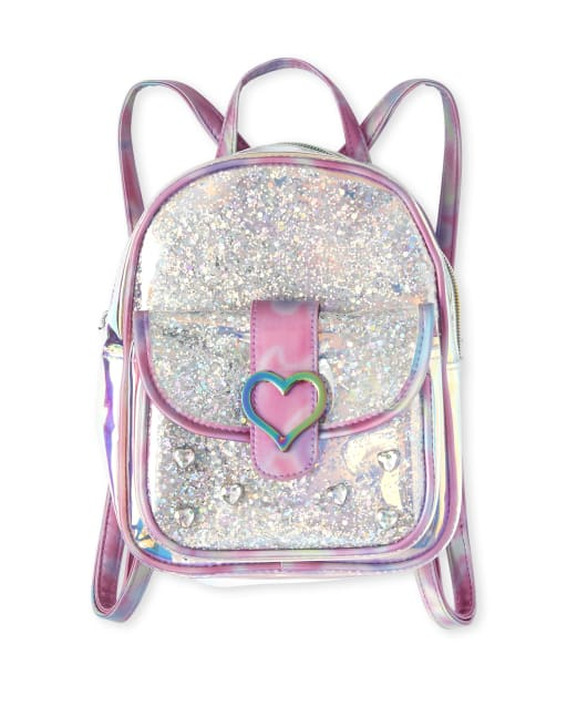 Girls Studded Heart Mini Backpack
