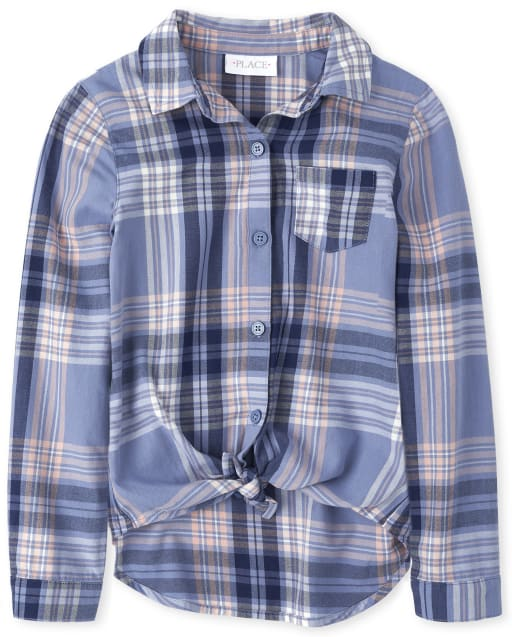 Girls Long Sleeve Plaid Twill Tie Front Button Down Shirt