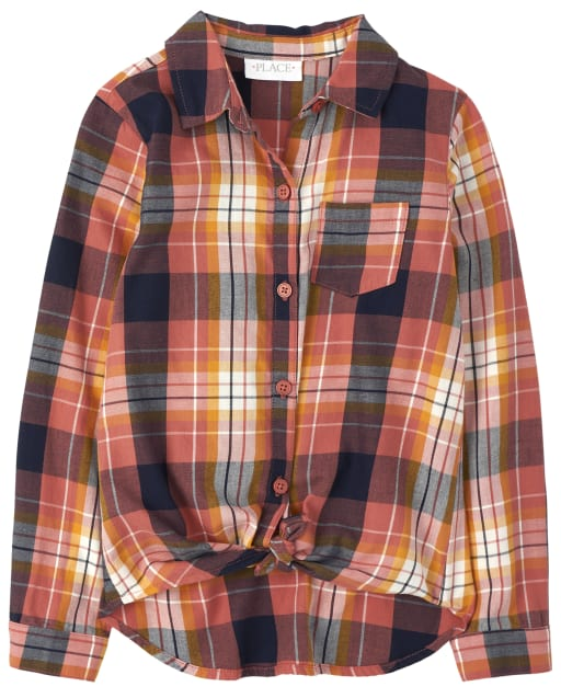 Girls Mommy And Me Long Sleeve Plaid Twill Matching Tie Front Button Down Shirt
