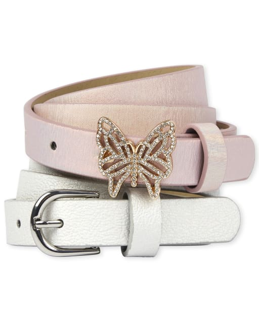Girls Glitter Butterfly Belt 2-Pack