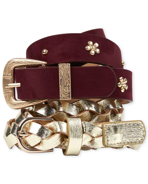 Girls Studded Flower Belt 2-Pack